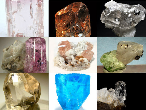 Varieties of natural, uncut topaz