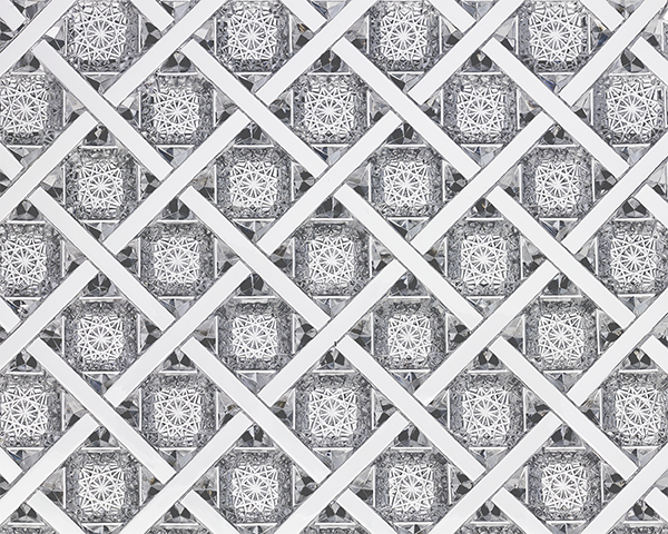 Close-up view of the Trellis pattern (above). Notice the precision in even the tiniest of cuts.