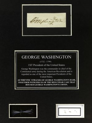 The hair and funerary case shavings of President George Washington
