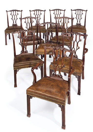 A Set of Ten George III Mahogany Dining Chairs