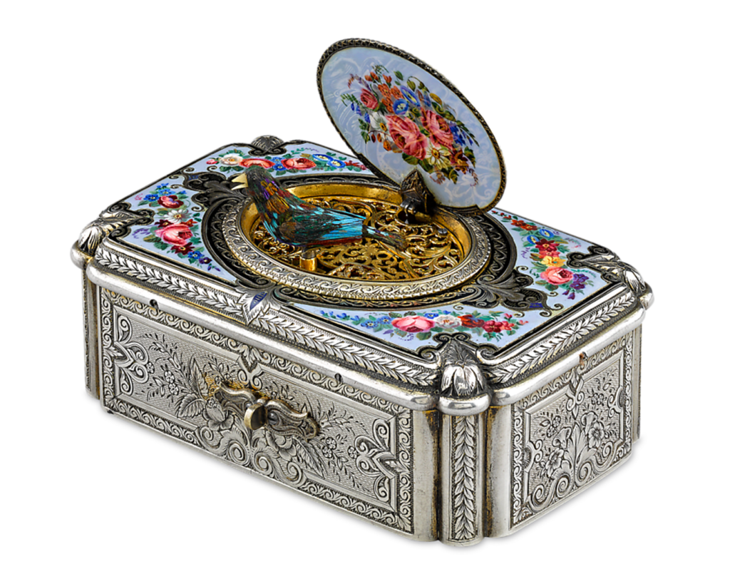 The renowned Charles Bruguier created this rare, early Swiss fusée singing bird box, circa 1860.