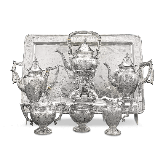 Chinese Export Silver Tea and Coffee Service.