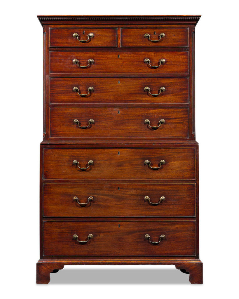 THOMAS CHIPPENDALE GEORGE III CHEST ON CHEST