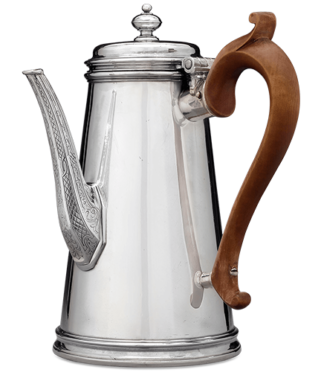 This important and incredibly rare Britannia standard silver coffee pot is a superb example of the earlier works of Paul de Lamerie. The Britannia standard (95.8% pure silver), compulsory until 1720, continued to be used by Paul de Lamerie for his highest quality works
