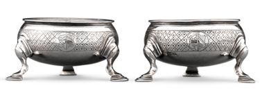 These exceptional George I-period silver salts stand as a testament to Paul de Lamerie's prodigious talent and celebrated eye for sophistication
