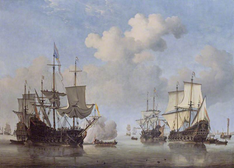 Calm: Dutch Ships Coming to Anchor by Willem van de Velde the Younger