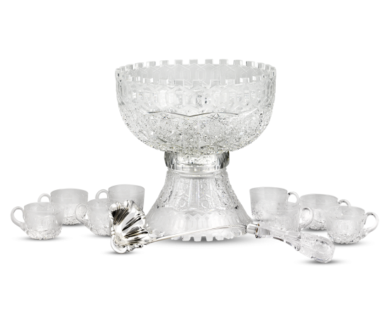 Alhambra Brilliant Period cut glass punch bowl set by Meriden.