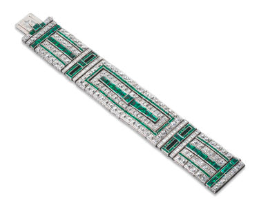 Emerald and Diamond Art Deco Bracelet
