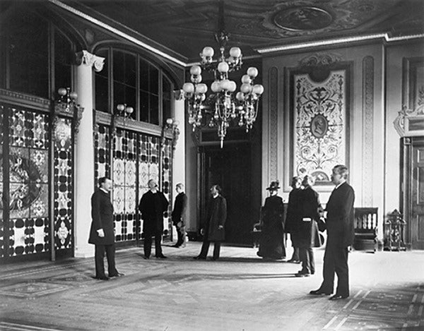 Louis Comfort Tiffany created these impressive stained glass windows in the Entrance Hall of the White House in 1882.