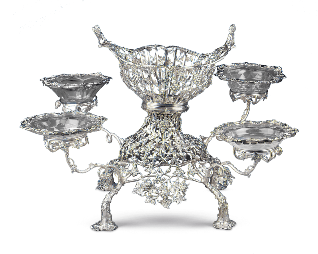 When cleaning detailed silver works, such as this incredible George III-period Silver Epergne, a soft natural bristled artist's brush can do wonders to clear dirt and debris from the intricate metalwork.