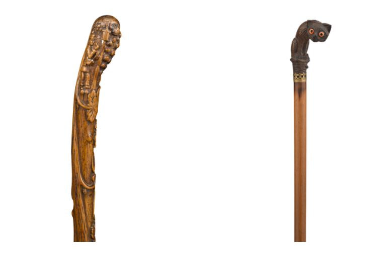 Left: French Folk Art Cane Right: Carved Cat Walking Stick