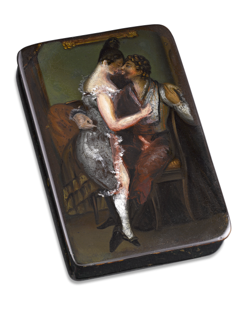 German Erotic Snuff Box featuring a couple in a love-making embrace. Circa 1830.