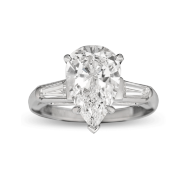 Pear-cut Golconda Diamond Ring, 3.02 Carats