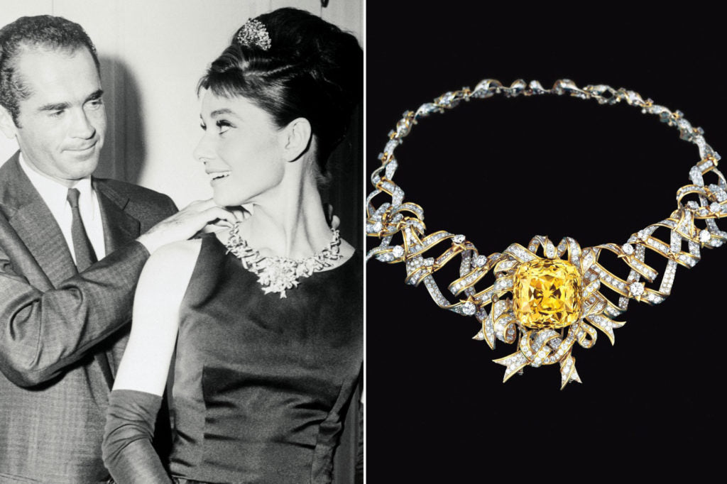 The famed Tiffany Diamond as worn by Audrey Hepburn.