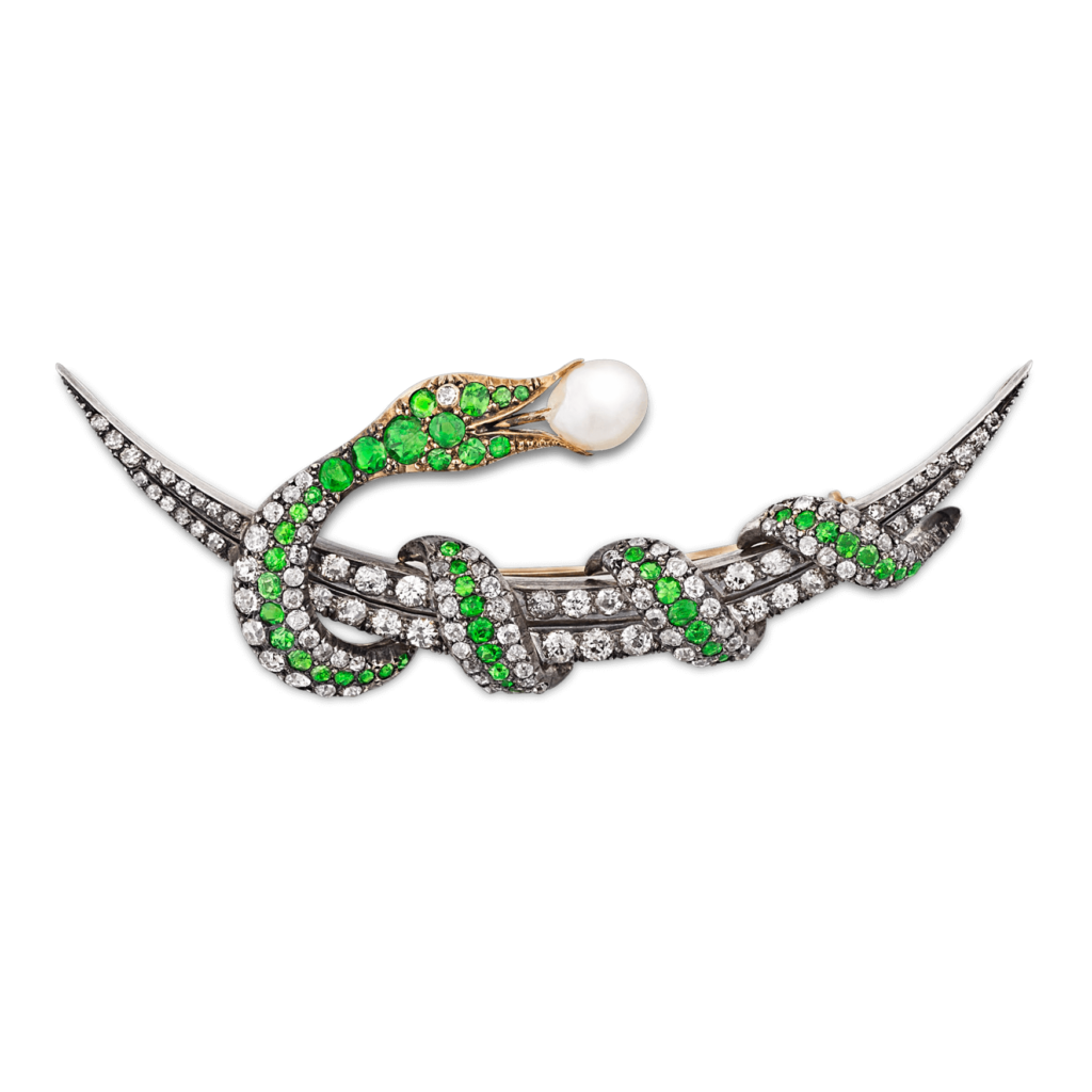 Demantoid Garnet, Diamond & Pearl Victorian-Period Brooch