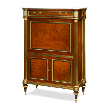 This secrétaire à abattant was crafted by Bernard Molitor, one of few artisans who's furniture making business was sucessful both during the Monarchies and after the Revolution. This secrétaire, circa 1790, is made of mahogany and accented delicately with ormolu mounts and a white marble top.