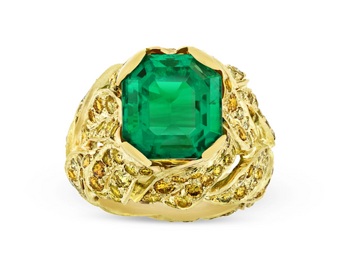Untreated Colombian Emerald Ring