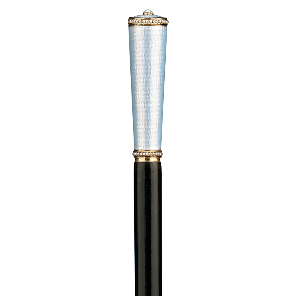 Blue guilloché enamel, gold and pearl Fabergé cane by work master Henrik Wigström, who served as the head of the St. Petersburg workshop from 1903-1917.