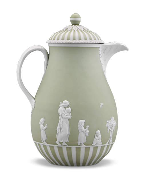 """Lady Templetown """"Domestic Employment"""" Coffee Pot by Wedgwood, circa 1785."""