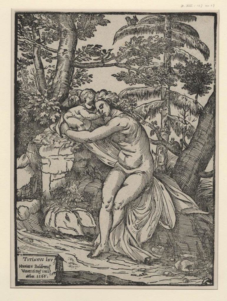 "Lascivie, or ""The Lusts,"" 15th--century printed engraving by Agostino Carracci."