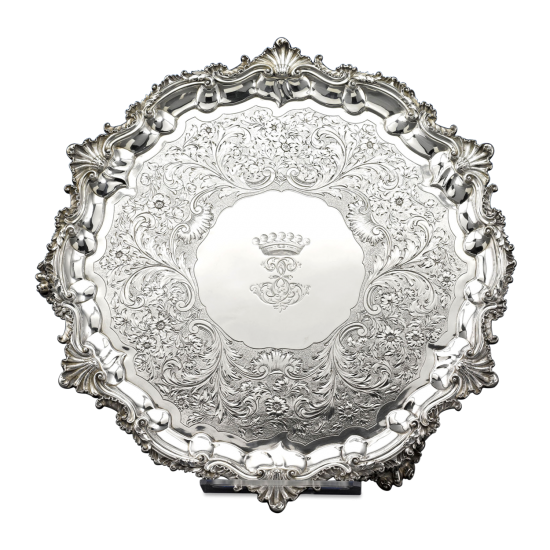 William IV silver serving tray by Paul Storr at M.S. Rau.