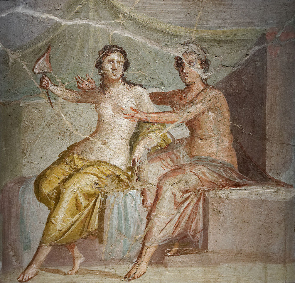 Erotic mural excavated in Herculaneum, Pompeii.