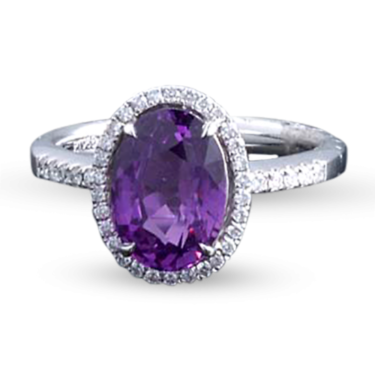 Untreated Purple Sapphire Ring, 3.36 Carats