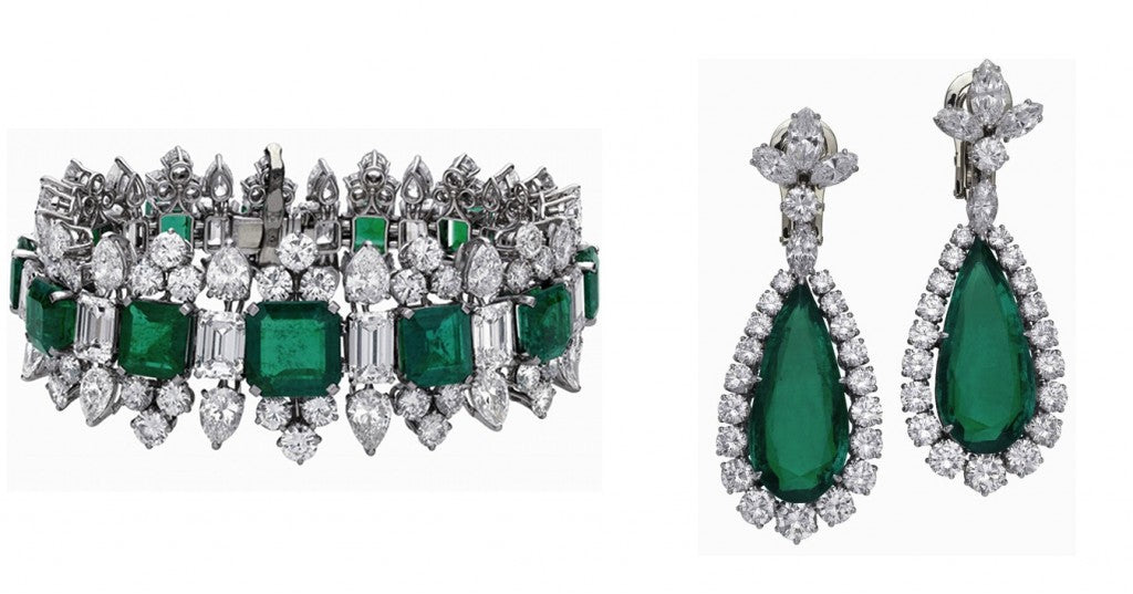 The emerald bracelet and earrings that once belonged to the Grand Duchess of Russia. Burton gifted the suite to Taylor upon their second marriage.