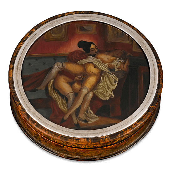 Sapphic Snuff Box depicting two women the scintillating throes of passion. Circa 1840.