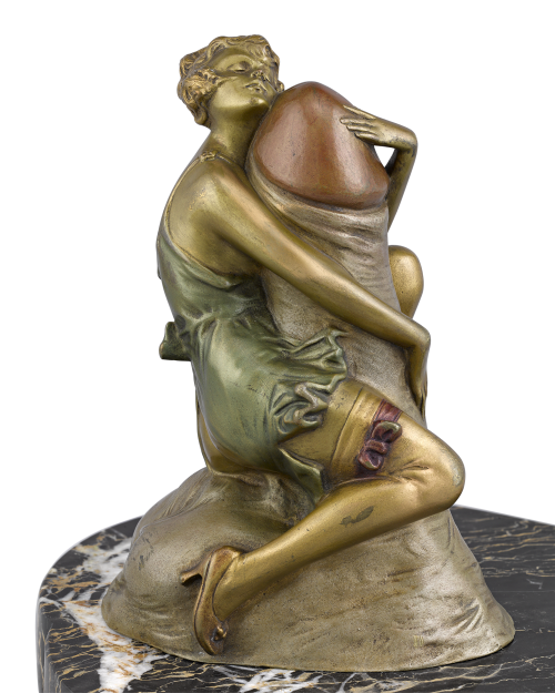"""The Hugger"" Art Deco Erotic Bronze, attributed to Bruno Zach. Circa 1920."