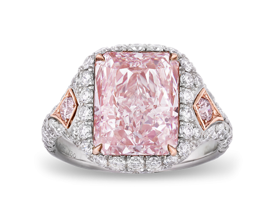 A fancy pink diamond ring weighing an remarkable 5.25-carats