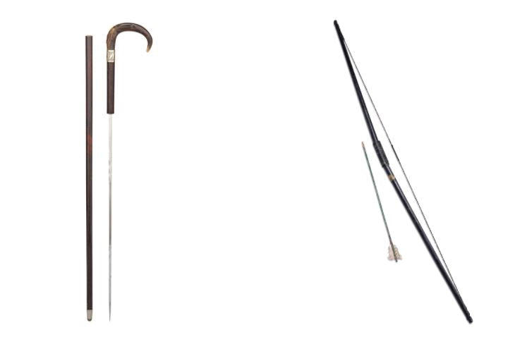 From left: Horn Handled Sword Cane, Bow & Arrow Cane