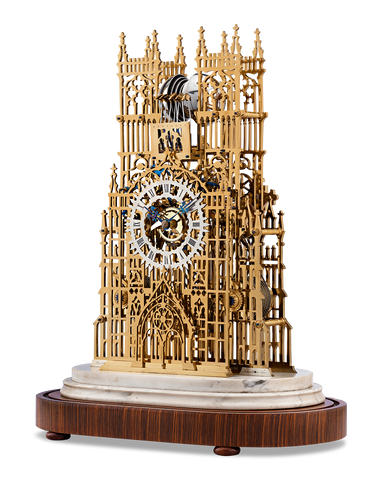 This skeleton clock is designed after Westminster Abbey and was made by Evans of Handsworth.