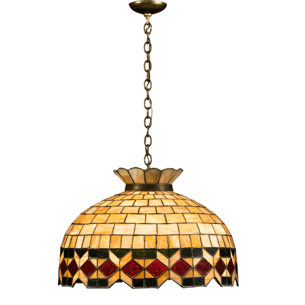 A wonderful and precise geometric design is executed in impeccable color in this hanging lamp