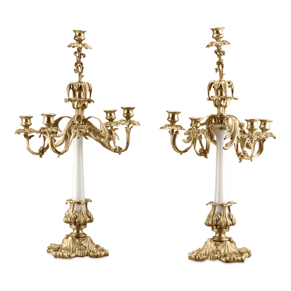 French White Opaline Candelabra
