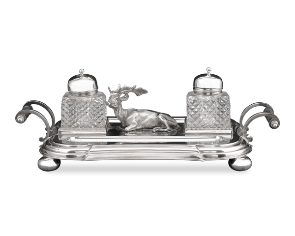 English Silverplate Ink Stand