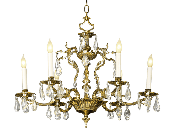 Six-Light Crystal and Bronze Chandelier