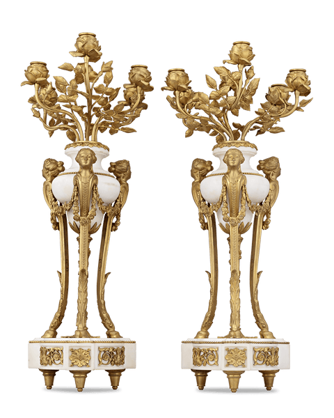 Doré Bronze French Neoclassical Candelabra