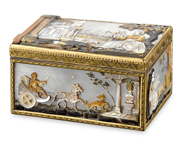 Inlays of multi-colored mother-of-pearl cover each side of this breathtaking German snuff box