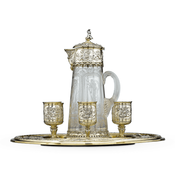 This outstanding eight-piece beverage service was crafted by the preeminent Elkington & Co.