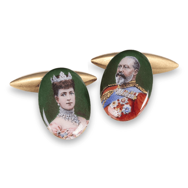 These important royal cufflinks boast portraits of Queen Alexandra and King Edward VII