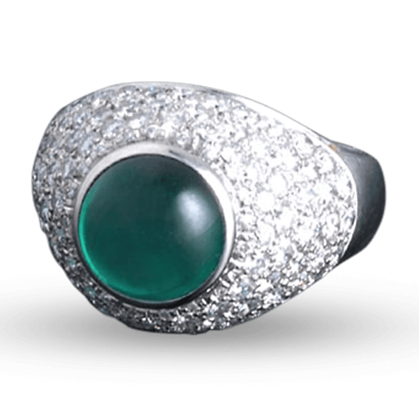 Emerald and Diamond Dome Ring, 3.69 Carats