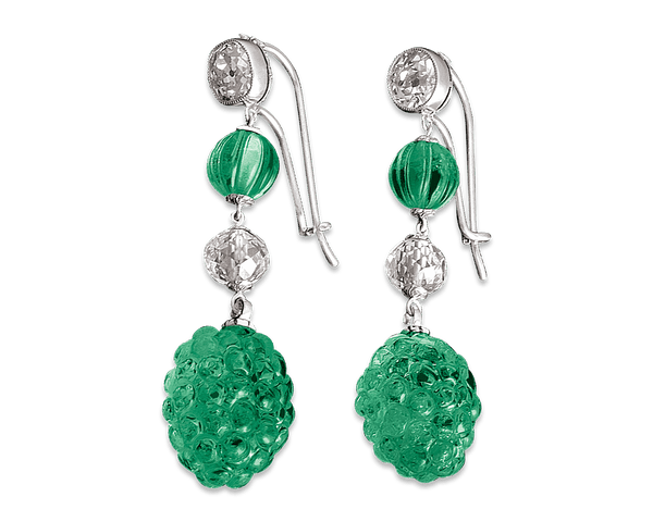 Carved Colombian Emerald & Diamond Earrings, 19.17 Carats