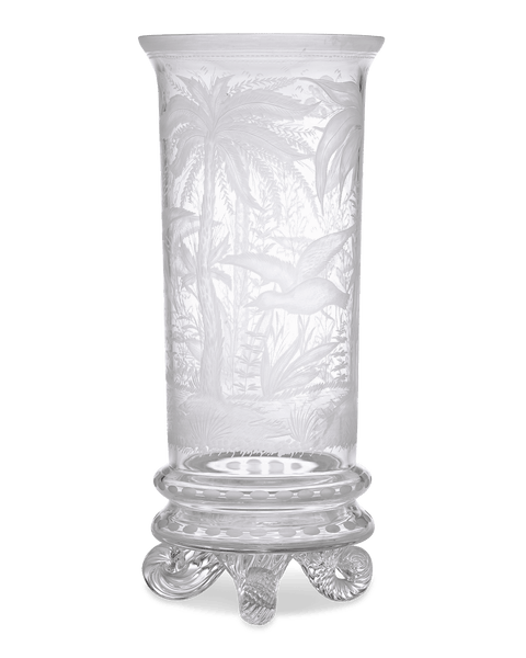 Chinoiserie Engraved Glass Vase by Stevens & Williams