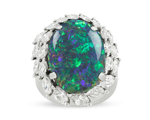 Black Opal and Diamond Ring, 8.28 Carats