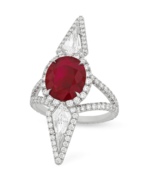 Burma Pigeon-Blood Ruby and Diamond Ring, 3.16 Carats