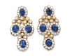 Sapphire Cabochon Earrings, 33.00 Carats