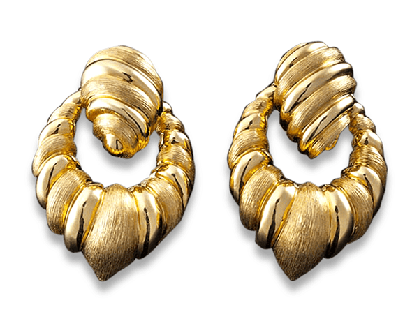 Gold Door Knocker Retro Earrings by Henry Dunay