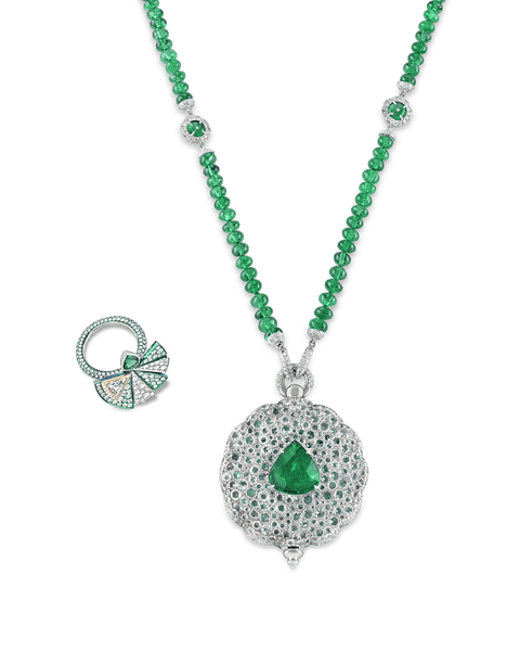 Emerald Secret Fan Necklace and Ring Set, 112.27 Carats