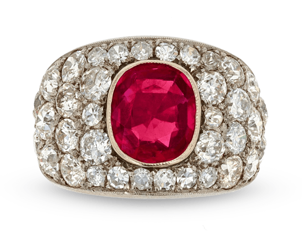 Art Deco Burma Ruby and Diamond Ring, 3.00 Carats